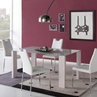 Conjunto de Mesa Cristal y 4 sillas Melbourne
