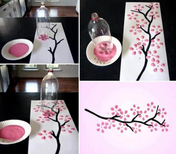 Diy c mo pintar un cuadro con una botella de pl stico - Como pintar botellas de plastico ...