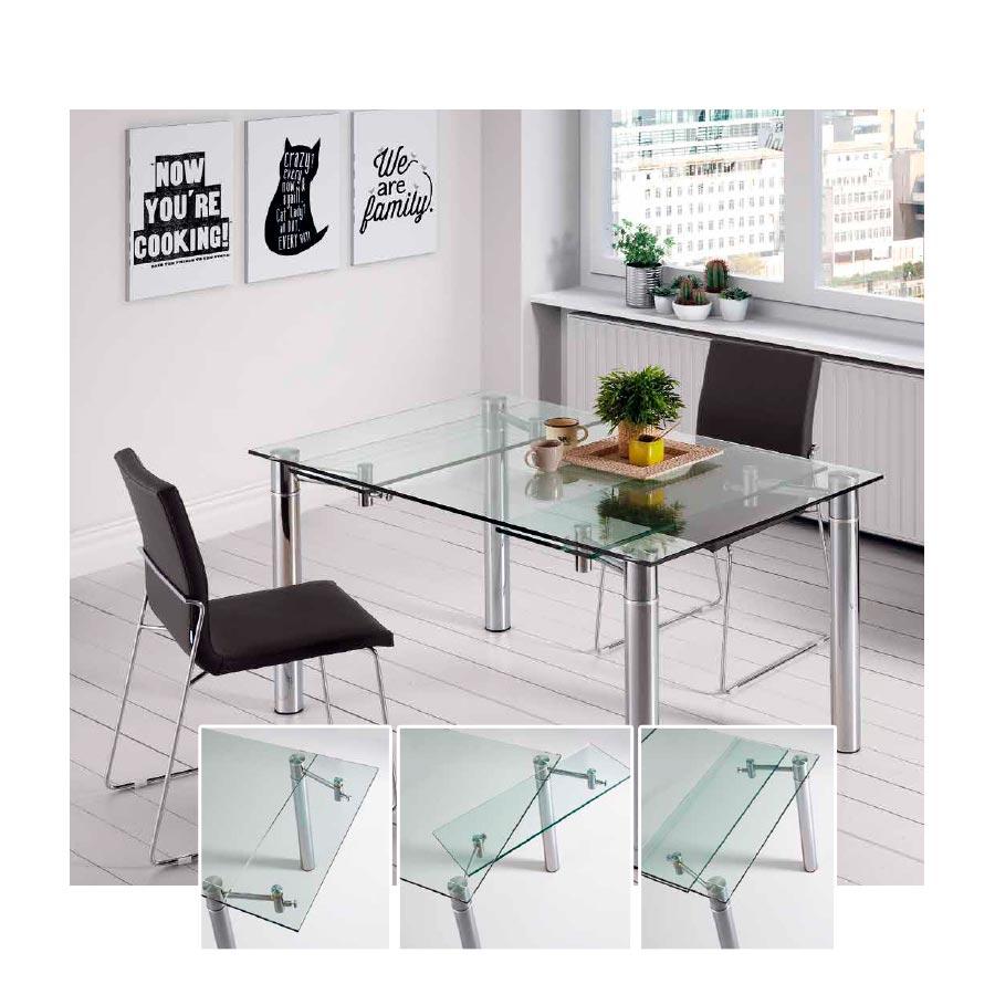 Mesa salón - comedor T05, mesa cristal transparente elegante y ...
