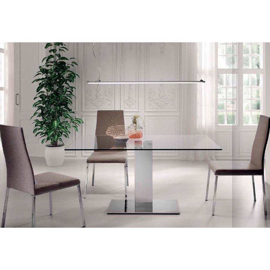 Mesa salón - comedor T77, elegante mesa con sobre de cristal