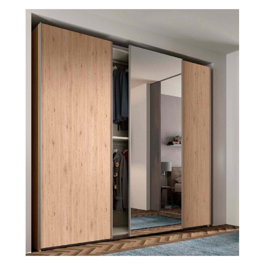 Armario puertas correderas rcm016 con puerta espejo for Armario con espejo