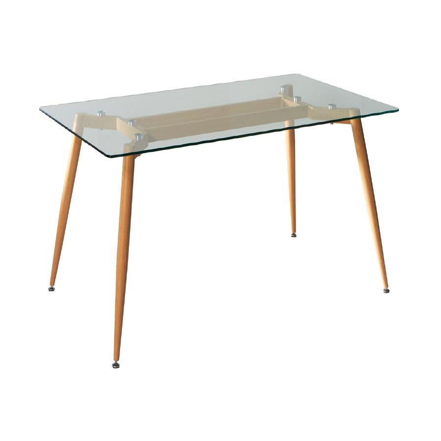 Mesa Salón Comedor Happy, elegante mesa rectangular de metal y cristal