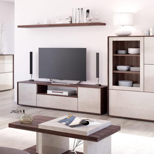 Salon-comedor-completo-floky-nogal-cemento-vitrina2-tv-mesacentro