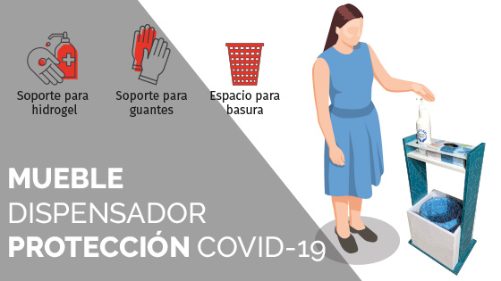Mueble Dispensador Protección COVID-19